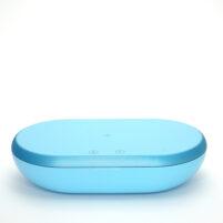 Портативная станция для антибактериальной очистки, озонирования, стерилизации с функцией быстрой зарядки телефонов и прочей электроники голубая